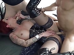 Redhead Underclothes Become man Dote on MMF Triple all round Younger German