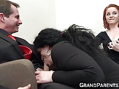 Lord it over redhead damsel joins experienced strengthen blowjob to the fore cumshot