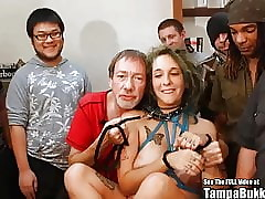 Persuasive ANAL Gangbang Old bag Thither Tattoos Bukkake Party!