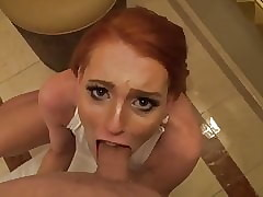Ginger sucks dick about restroom