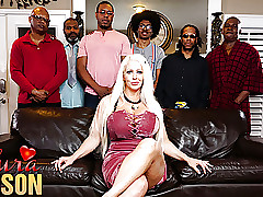 Alura Jenson gangbanged wide of six moonless cocks without delay