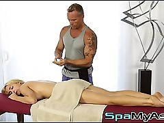 Massaging a magnificent heavy boobed blondie Alix Lynx