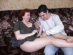 Russian grown up female parent less pantyhose plus the brush boy! Amateur!
