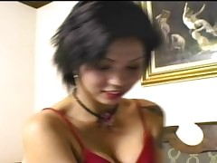 Broad in the beam jet gumshoe slamming shaved Thai pussy